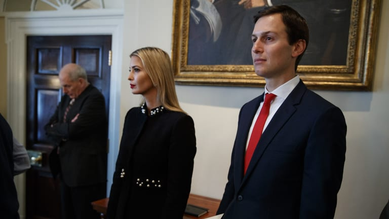 White House senior adviser Jared Kushner, right, with Ivanka Trump and Chief of Staff John Kelly during a cabinet meeting with President Donald Trump on Thursday.