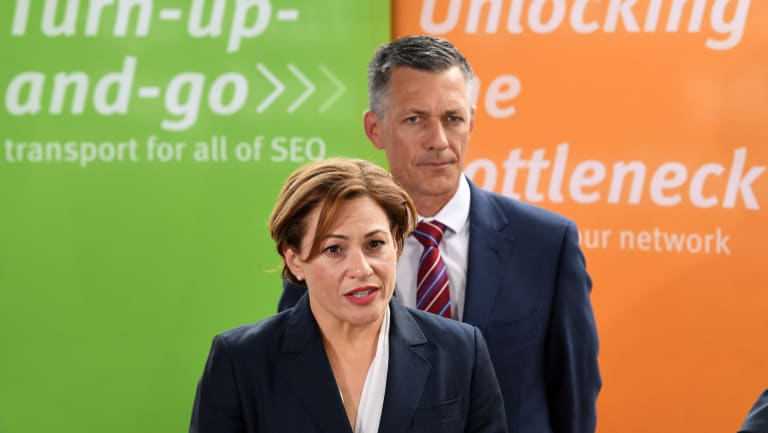 Queensland Acting Premier Jackie Trad (left) and Cross River Rail Delivery Authority CEO Graeme Newton announce the five short-listed consortia bidding to build Brisbane's underground rail.