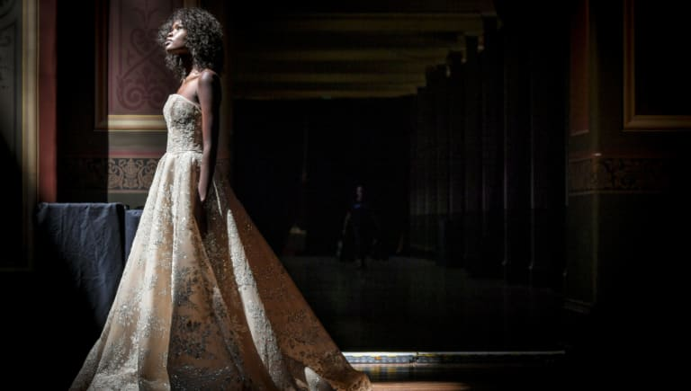 A model wearing a design by Steven Khalil at rehearsals for the bridal runway at the Melbourne Fashion Festival.