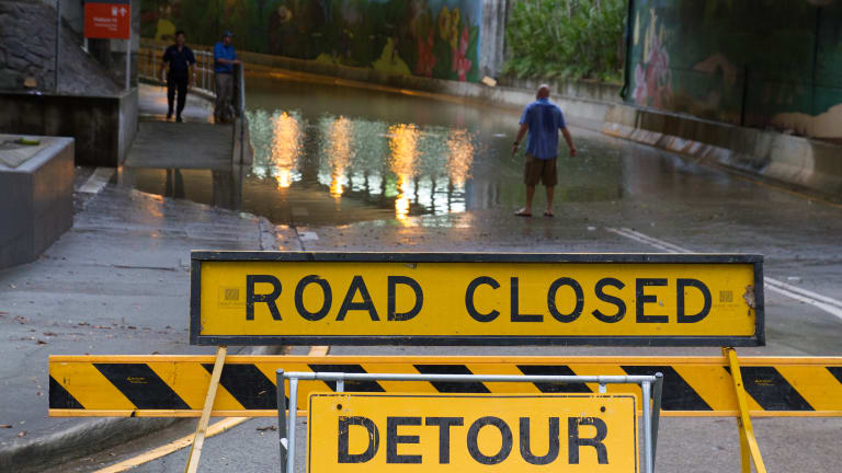 Parkland Boulevard, off Roma Street in Brisbane, was closed due to flooding on Tuesday morning.