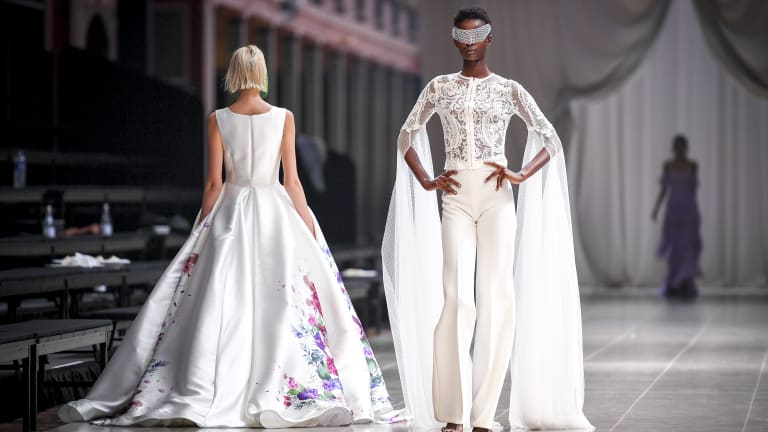 Designer Jason Grech included a pants look in his presentation in the bridal runway.
