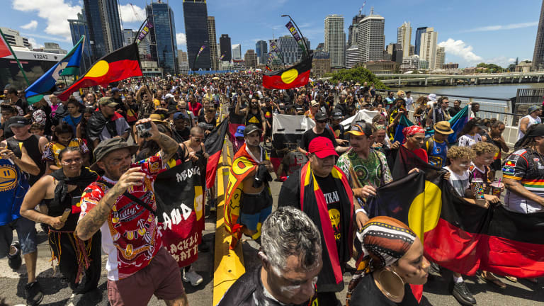 Thousands turned out for the protest marches in Brisbane.