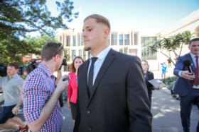 Charged: St George Illawarra and NSW star Jack de Belin appeared in court this week.
