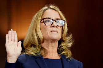 Christine Blasey Ford is sworn in during a Senate Judiciary Committee hearing in Washington, DC, on Thursday, September 27, 2018.