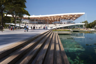 An artist's impression of the eastern entrance of the new Sydney Fish Market.