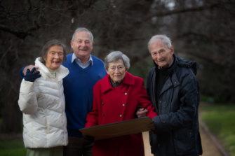 So proud: Dr Ben Quin's surviving children (left to right) Mardi Doyle, John Quin, Pat Quin and David Quin.