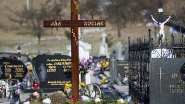 The cross over the grave before the funeral of investigative journalist Jan Kuciak in Stiavnik, Slovakia, on  March 3.