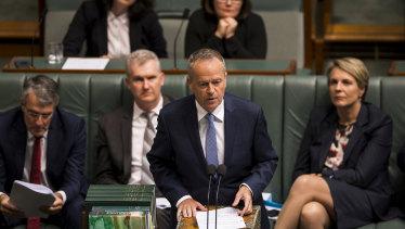 Opposition Leader Bill Shorten in Parliament on Tuesday.