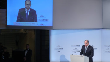 Sergei Lavrov, Russia's foreign minister, speaks at the Munich Security Conference in Munich, Germany, on Saturday.