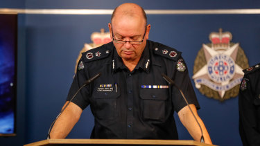 Chief Commissioner Graham Ashton at a press conference, addressing the resignation of disgraced Assistant Commissioner Brett Guerin.
