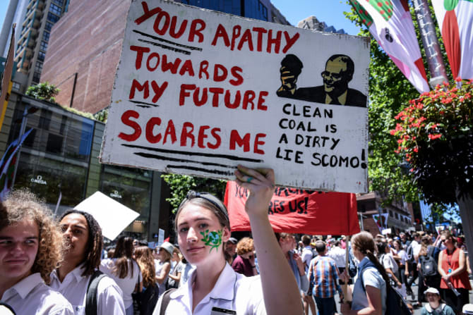Saskia Cook-Knowles of Port Kembla High School was one of thousands of students  demanding action on climate change in November.