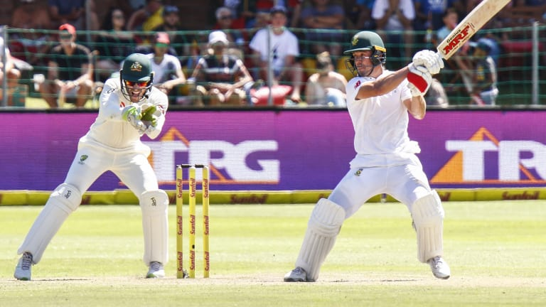 Masterful: AB de Villiers deals another blow to the Australian attack.