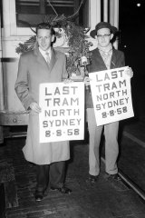 The last tram to cross the Sydney Harbour Bridge is farewelled on 8 August 1958.