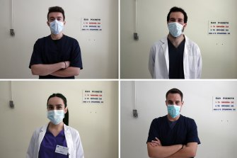 Medical students (clockwise from top left) Nikolaos Katsanakis, Ilias Sinanidis, Konstantinos Koufatzidis and Anna Karagiannakou at the entrance of the COVID-19 clinic at Sotiria Hospital in Athens.
