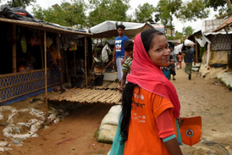 Amina Akhter who works as an outreach officer for the UNICEF nutrition centre in Balukhali camp.