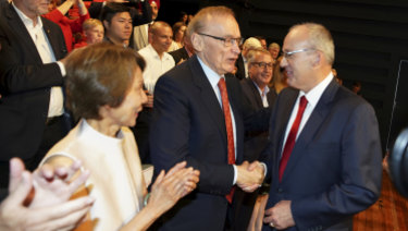Former premier Bob Carr congratulates Luke Foley at the campaign launch.