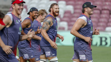 Scott Higginbotham in action during training with the Queensland Reds at Ballymore.