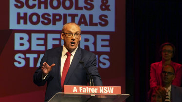 Luke Foley at the Labor campaign launch on Sunday.