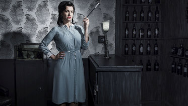 Marise Watson channels a sultry film noir femme fatale in The Cipher Room, the Sydney puzzle room she and her husband created.