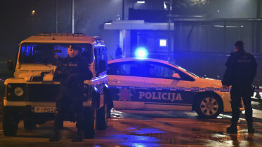 Police block off the area around the US embassy in Montenegro's capital, Podgorica, on Thursday.