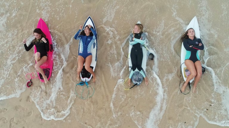 Competing in the SurfAid Cup: (from left) Ebony Conrick, 13, Sarah Lucantonio, 17, Lucy Graham, 14, and Laila Rich, 16.