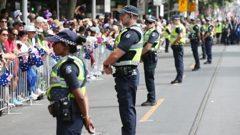 Police are out in force in the CBD.
