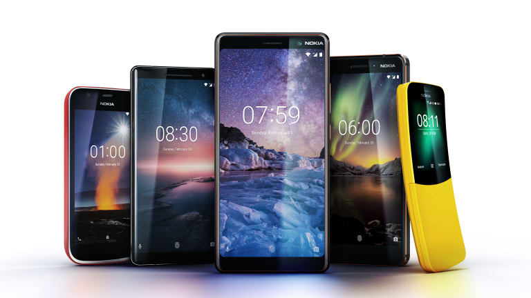 HMD's newly-announced phones. From left: Nokia 1, Nokia 8 Sirocco, Nokia 7 Plus, Nokia 6 and Nokia 8110.