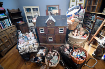 Some of the dolls and other objects for sale at the auction, which is called The Magical Studio of Mirka Mora.