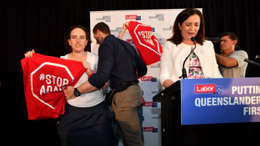 """Premier Annastacia Palaszczuk's campaign speech was interrupted by anti-Adani protesters.  """"People in Queensland have a right to protest,"""" the Premier said."""