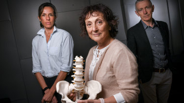Professor Rachelle Buchbinder (centre) with Associate Professor Manuela Ferreira and Professor Chris Maher. The trio is leading a global call to action on back pain treatment.