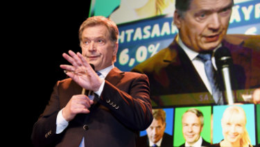 The independent presidential candidate Sauli Niinisto at his election reception in Helsinki, Finland, on Sunday.