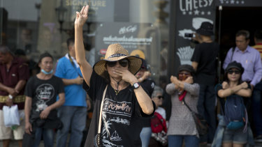 Protesters near the democracy monument in Bangkok this month. They are calling for a restoration of democracy after the 2014 coup.