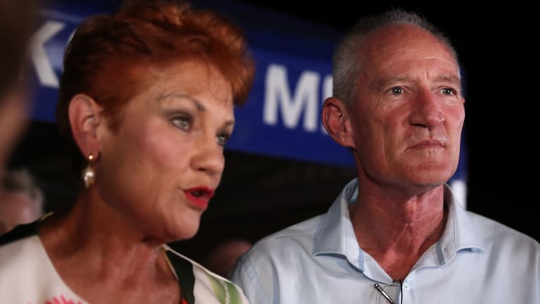 Pauline Hanson with former party state leader Steve Dickson at Buderim on Saturday night where Mr Dickson lost his seat.