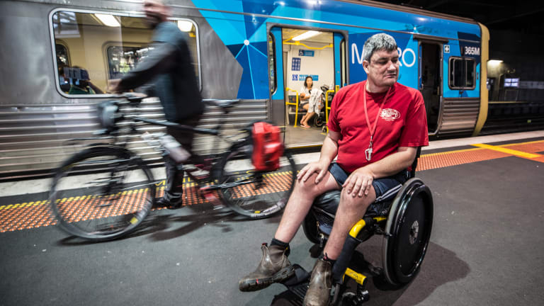 Lachlan Jones says Metro has discriminated against him by not ensuring the only wheelchair-accessible part of the train is free from cyclists.