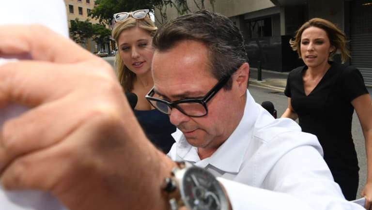 Richard Marlborough leaving the police watch house in Brisbane in February.