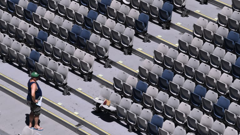 Empty seats in the sun during the match between Garbine Muguruza of Spain against Su-Wei Hsieh of Taipan on Thursday.