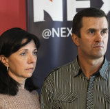 Raman's parents Natalia, left, and Dzmitry Pratasevich, in the Polish capital Warsaw on Thursday.