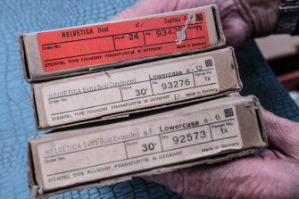 Original Helvetica typeface in its boxes from the museum collection.