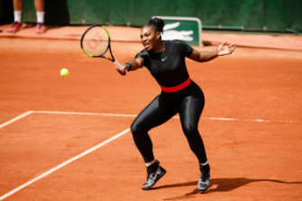 "Serena Williams in her ""catsuit"" at the French Open in 2018."