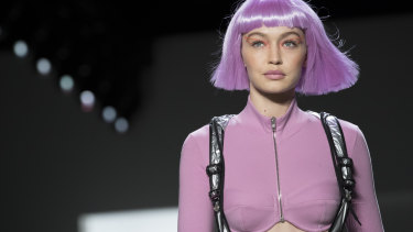 Model Gigi Hadid models the Jeremy Scott collection during Fashion Week in New York.