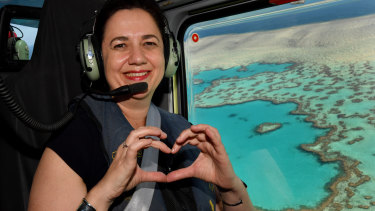 Queensland Premier Annastacia Palaszczuk takes a helicopter flight over the Great Barrier Reef during the election campaign.