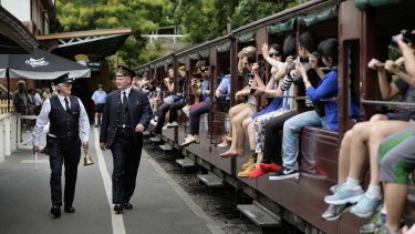 Hanging legs out of the Puffing Billy carriages is a long-held Victorian tradition.
