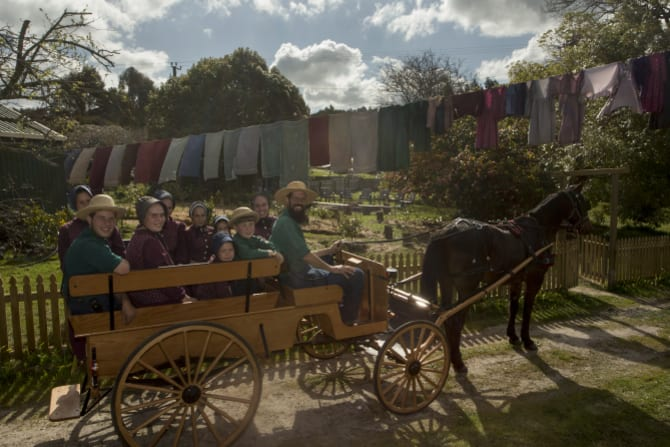 The McCallums head into town in their buggy, pulled by one of their horses, Terry.