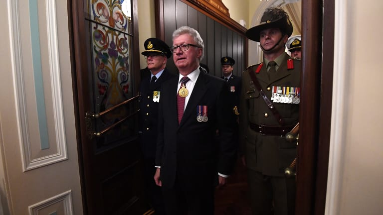 Queensland Governor Paul de Jersey entering the old Legislative Council chamber to open the state's 56th Parliament.