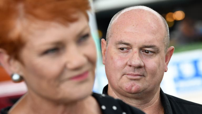 One Nation's Thuringowa candidate Mark Thornton with his party leader, Pauline Hanson.