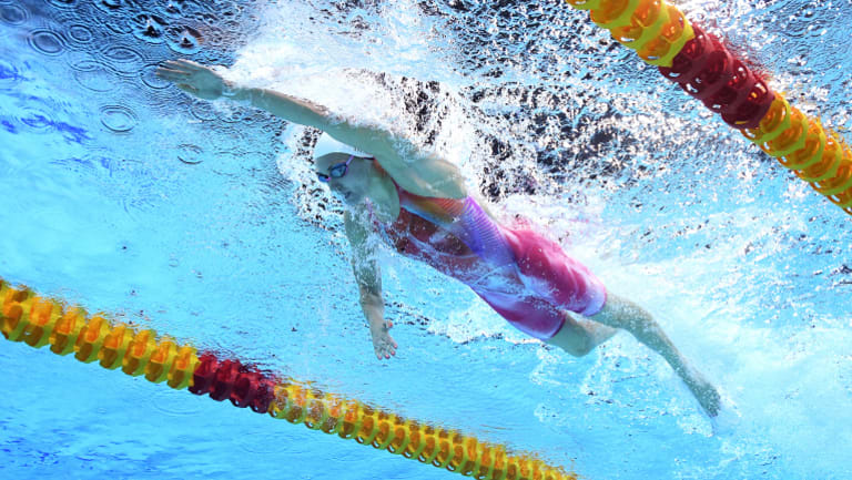 Titmus on her way to winning the final of the Womens 200m Freestyle.