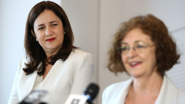 Queensland Premier Annastacia Palaszczuk (left) with newly appointed chairwoman of an Anti-Bullying Task Force Madonna King during a press conference in Brisbane on Monday.