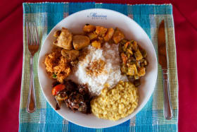 DGWP66 Singhala, Sinhala or Sinhalese curry, served with rice, Bentota, Sri Lanka SunOct15coverhotel
