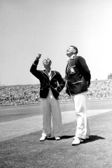 Captains Lindsay Hassett of Australia (left) and Freddie Brown of England at the toss of the 3rd Test of the Ashes series at the Sydney Cricket Ground on January 5, 1951.