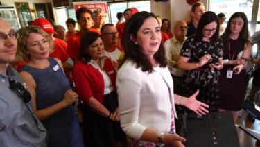 Premier Annastacia Palaszczuk held her first campaign event at Darra's Cementco Bowls Club.